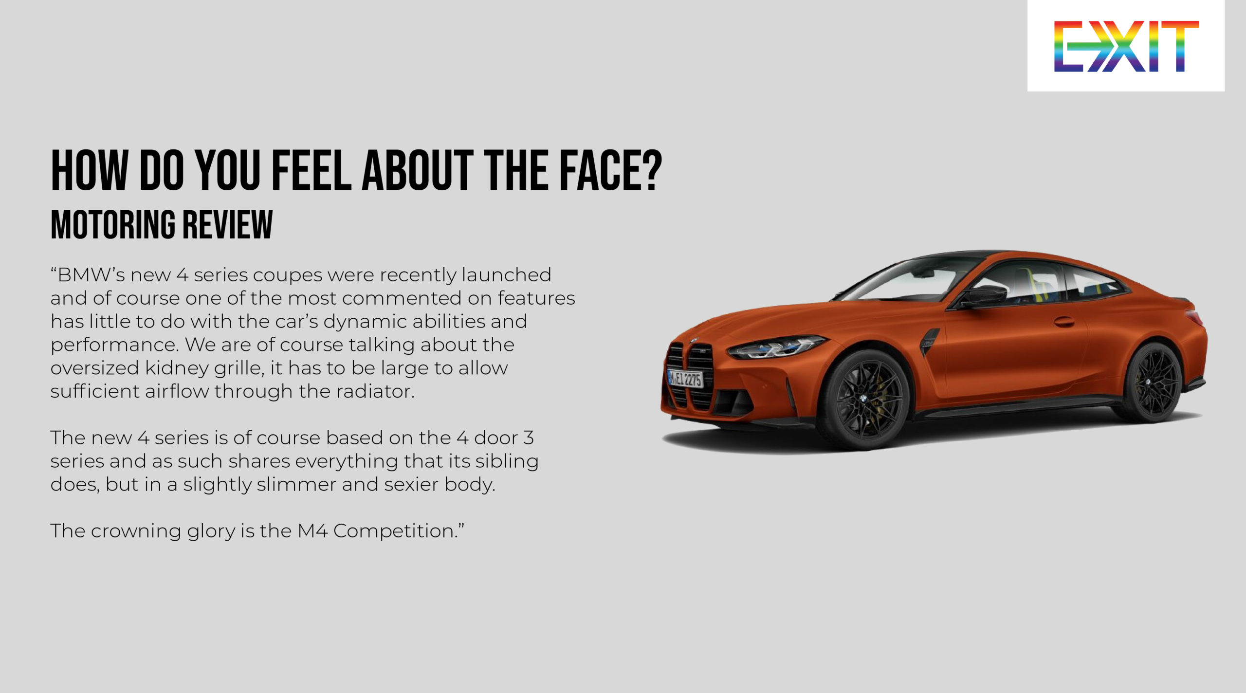 MOTORING: HOW DO YOU FEEL ABOUT THE FACE?