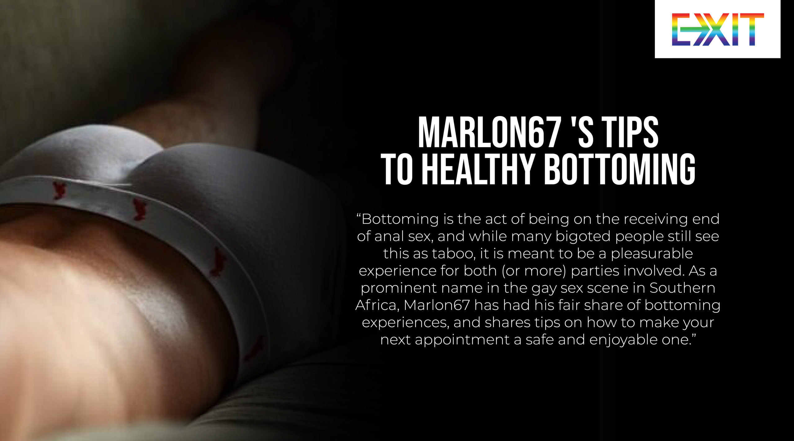 MARLON67 'S TIPS TO HEALTHY BOTTOMING